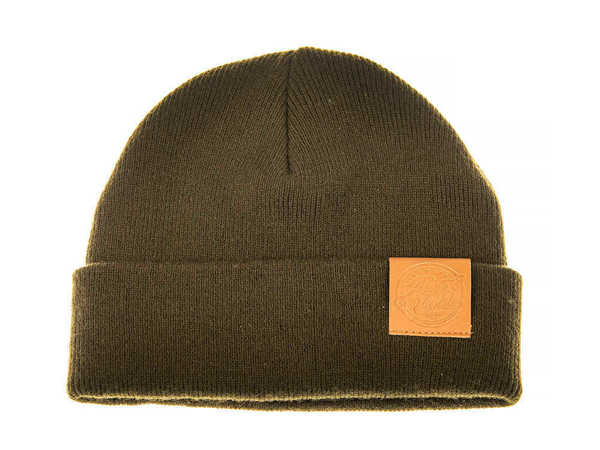 Bild på Ahrex Tight Knit Leather Patch Beanie Loden